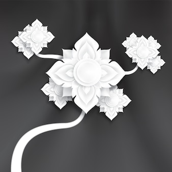 Abstrakte traditionelle papierkunst blüht auf glattem seidengewebehintergrund der schwarzen kurve