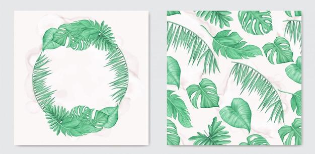 Abstrakte tropische blätter aquarellhochzeitseinladungskartenschablone mit nahtlosem muster