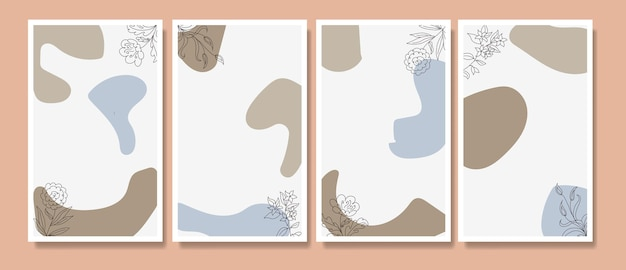 Abstrakte tropische blätter poster cover hintergrund set abstrakten hintergrund abstrakte blätter wallpaper