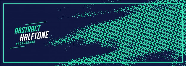 Abstrakte türkisfarbene dreiecksformen auf blauem fahnenentwurf