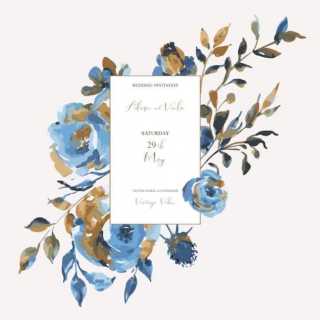 Abstrakte türkisrosen, wildflowers, weinlesegrußkarte. natürliche blaue blumenmusterelemente