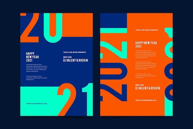Abstrakte typografische neujahrs-2021-parteiflyervorlage