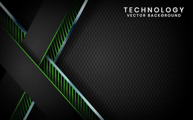 Abstrakte überlappungsschichten des technologiehintergrundes des schwarzen 3d auf dunklem raum mit grüner lichteffektdekoration