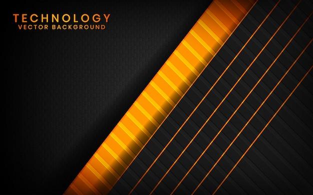 Abstrakte überlappungsschichten des technologiehintergrundes des schwarzen 3d auf dunklem raum mit orange lichteffektdekoration
