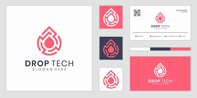 Abstrakte und digitale tech wassertropfen logo zeichen symbol