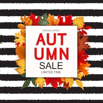 Abstrakte vektor-illustration autumn sale-fahne mit fallendem autumn leaves