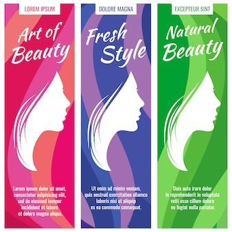 Abstrakte vektorfahnen für schönheits- und kosmetiksalonsatz