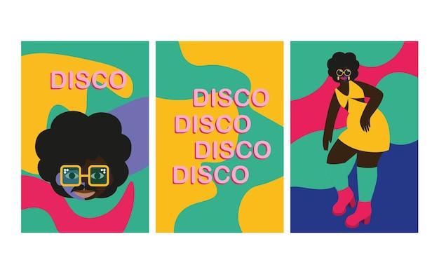 Abstrakte vektorgrafiken von disco-leute-charakteren der 70er jahre disco-party der 70er und 80er jahre