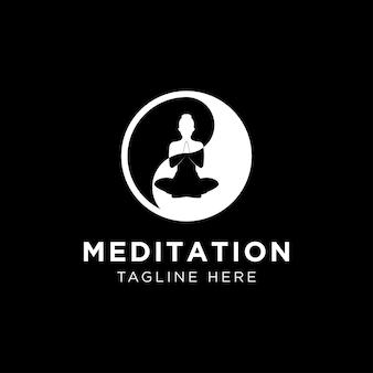 Abstrakte vektorillustration des yoga- und meditationslogoemblems. abstrakte vektorillustration des yoga- und meditationslogoemblems. mit kreis-ying-yang-symbol-symbol