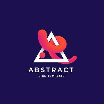 Abstrakte vektormischkurve in einer trinagle-symbol-, zeichen- oder logo-vorlage.