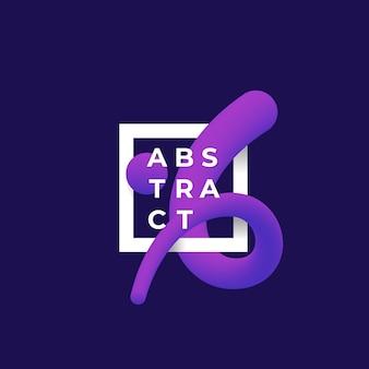 Abstrakte vektormischungskurve in einer quadratischen rahmen-, zeichen- oder logo-schablone.