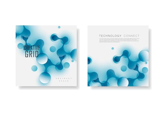 Abstrakte verbindungsstruktur im technologiestil. broschüre vorlage für wissenschaft, chemie, medizin, biotechnologie