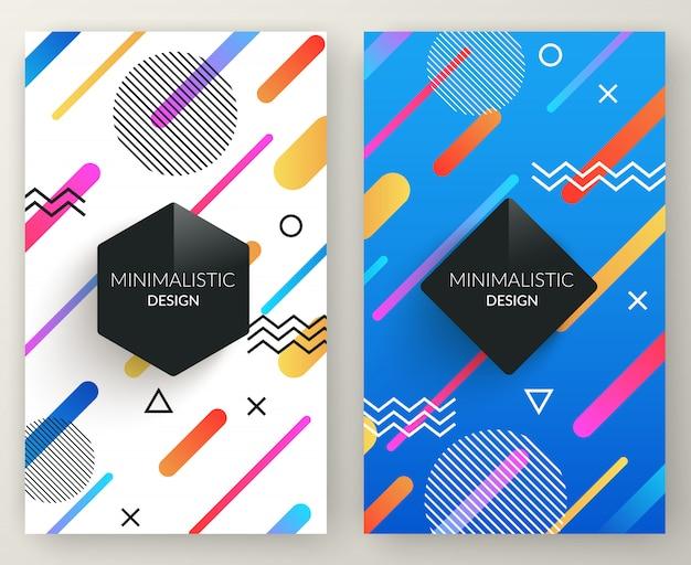 Abstrakte vertikale fahnen der memphis-art mit mehrfarbigen einfachen geometrischen formen