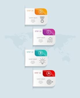 Abstrakte vertikale infografiken 4 schritte