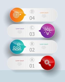Abstrakte vertikale infografiken elemente 4 schritte für geschäft und präsentation