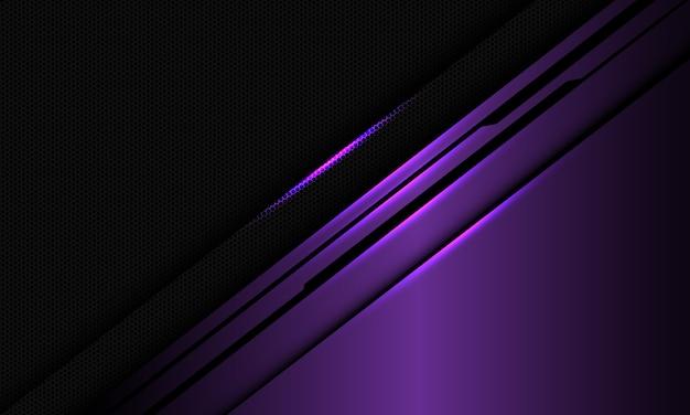 Abstrakte violette metallische glänzende schwarze linienschaltung auf dunklem sechseckmaschenentwurf moderner luxus-technologiehintergrund.