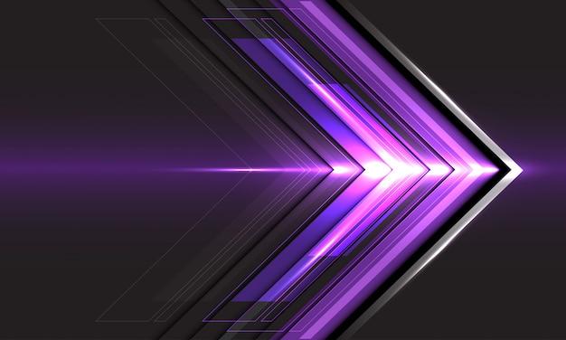 Abstrakte violette pfeillichtrichtungsgeschwindigkeit auf futuristischem hintergrund der schwarzen technologie.