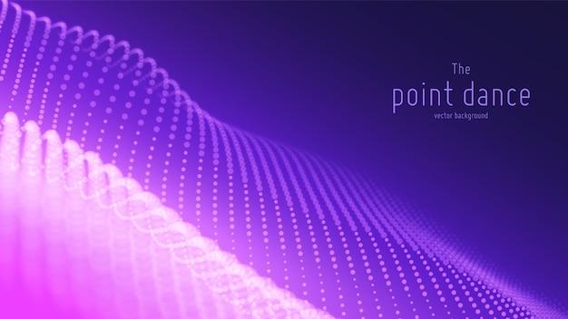 Abstrakte violette teilchenwelle, punktanordnung, geringe schärfentiefe. digitaler hintergrund der technologie