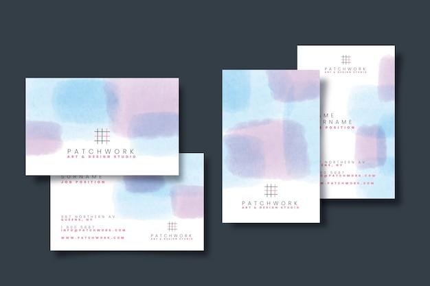 Abstrakte visitenkartenvorlage mit pastellfarbenen flecken