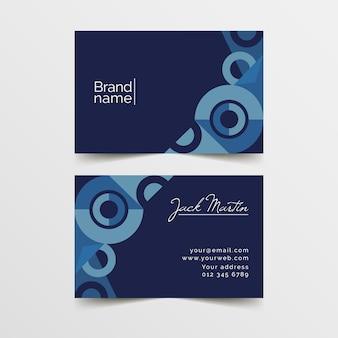 Abstrakte visitenkarteschablone mit blauem thema