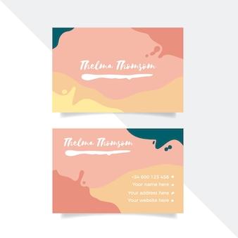 Abstrakte visitenkarteschablone mit pastell farbigen flecken