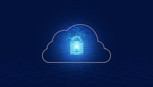 Abstrakte vorhängeschloss-cybersicherheit und binäres digitales cloud-konzept schutz