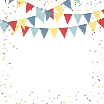 Abstrakte vorlage des partyfeiertags mit flaggengirlanden und konfetti