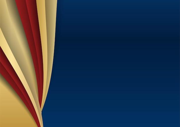 Abstrakte vorlage dunkelblauer luxus-premium-hintergrund mit goldenen und roten geometrischen formenelementen. anzug für präsentationshintergrund, zertifikat, visitenkarte, banner, flyer und vieles mehr
