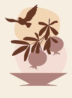 Abstrakte wandkunst eines granatapfelzweigs über einer vase und einem fliegenden vogel am himmel