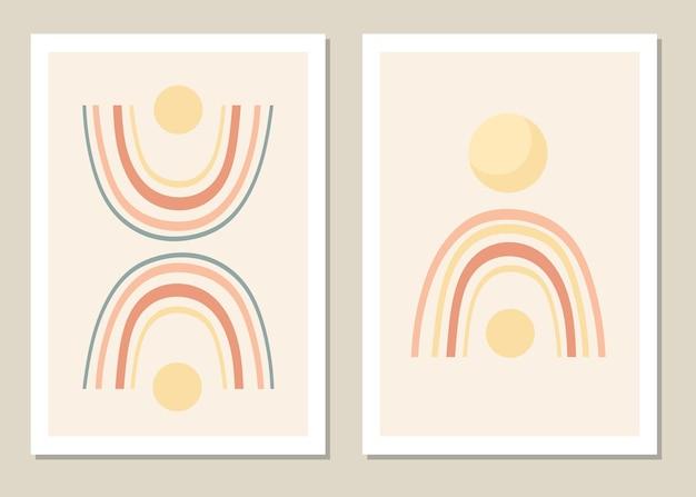Abstrakte wandkunst gesetzt. abstrakter regenbogen