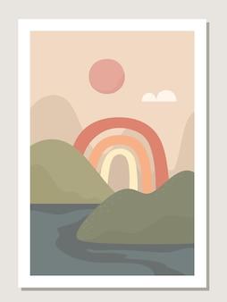 Abstrakte wandkunst mit regenbogen und landschaft. abstrakte regenbogenmuster und -formen für collagen, plakate, abdeckungen, perfekt für wanddekoration. vektor.