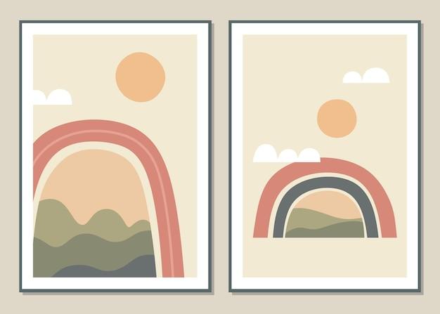 Abstrakte wandkunst mit regenbogen und landschaft.