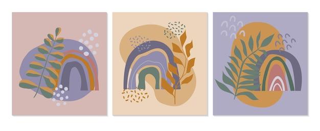 Abstrakte wandkunstsammlung set von postern mit regenbogenpflanzen und organischen formen für wohnkultur