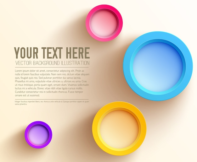 Abstrakte web-geschäftsschablone mit text und bunten leeren kreisen