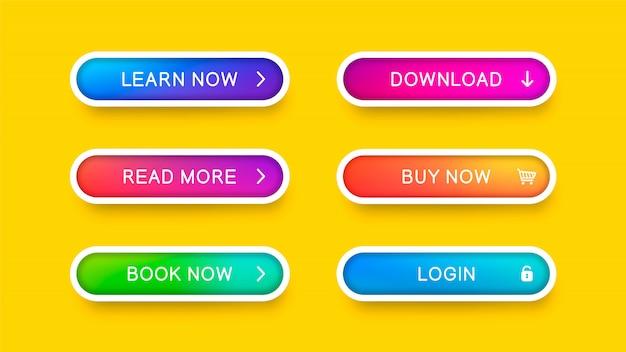 Abstrakte web-tasten mit dem fallenden schatten getrennt auf gelb