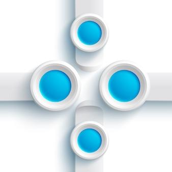 Abstrakte webdesignelemente mit grauen fahnen und blauen runden knöpfen auf weiß lokalisiert