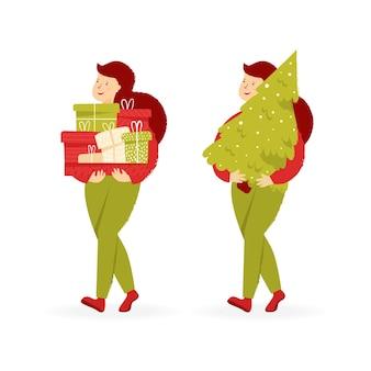 Abstrakte weibliche figur mit haufen von geschenken und weihnachtsbaum vorbereitung für den urlaub