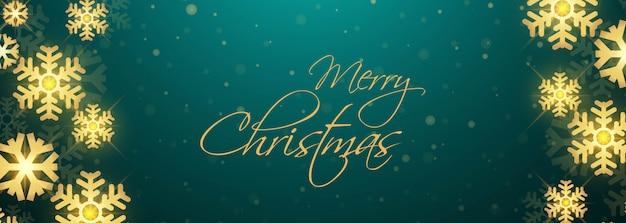 Abstrakte weihnachtsgoldene schneeflockekartenfahne