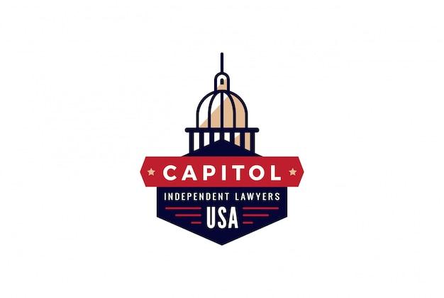 Abstrakte weinlese-retro-designschablone des capitol logo lawyer. symbol für das konzept des kreativrechtsanwalts der regierung