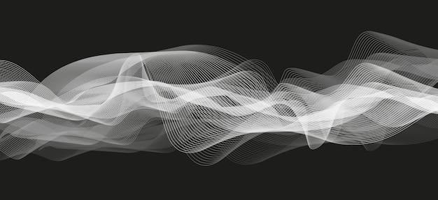 Abstrakte weiße audiowelle auf schwarzem hintergrund