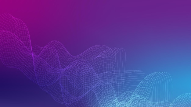 Abstrakte weiße fließende linienwelle mit lichteffekt auf lila und blauem farbverlaufshintergrund