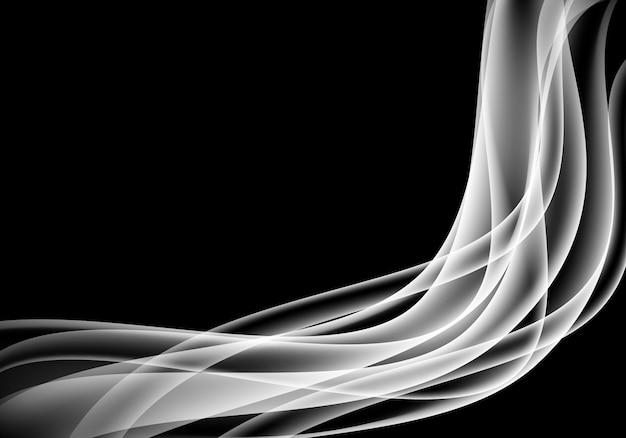 Abstrakte weiße rauchkurve auf schwarzem hintergrund.