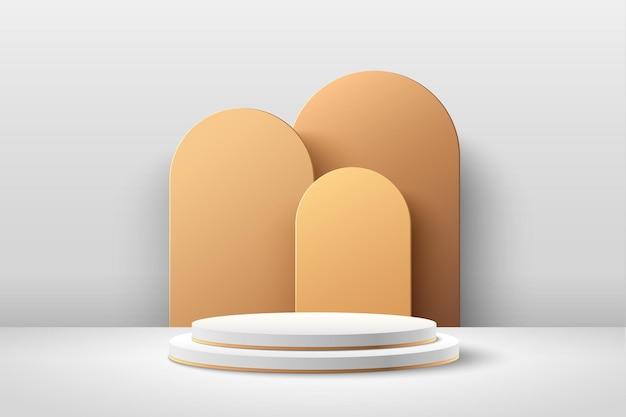 Abstrakte weiße und goldene runde anzeige für produktpräsentation