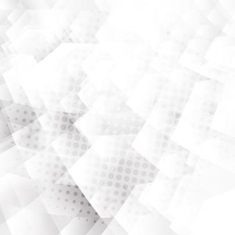 Abstrakte weiße und graue geometrische hexagonformen