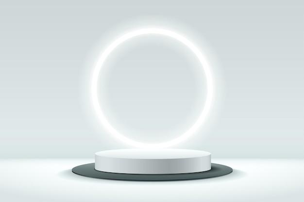 Abstrakte weiße und schwarze runde anzeige für produkt.