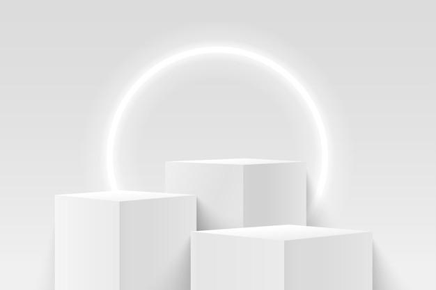 Abstrakte weiße würfelanzeige für produkt mit neonkreishintergrund. geometrische form der 3d-wiedergabe.