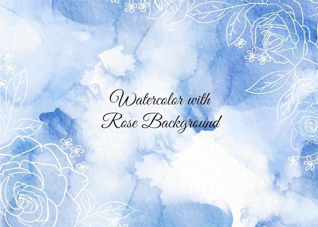 Abstrakte wellen des hintergrunds formen blaues aquarell mit rosenblume der linienkunst