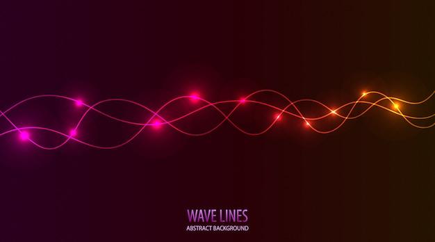 Abstrakte wellenförmige linie dunkle rosa abstufung des hintergrundes