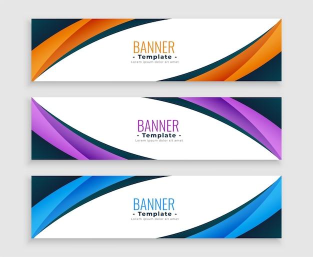 Abstrakte wellenkurve business web banner gesetzt