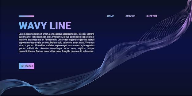 Abstrakte wellenlinien dynamische fließende bunte landingpage auf blauem hintergrund mit farbverlauf. vektorillustrationsgestaltungselement im konzept von musik, party, technologie, modern.